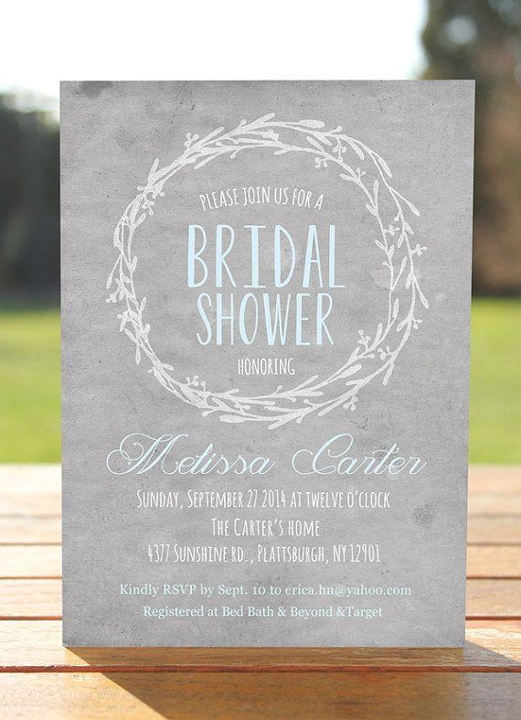 Gray blue unique Bridal Shower Invitation, Watercolor bridal shower invitation rustic bridal shower invite, printable autumn bridal invite