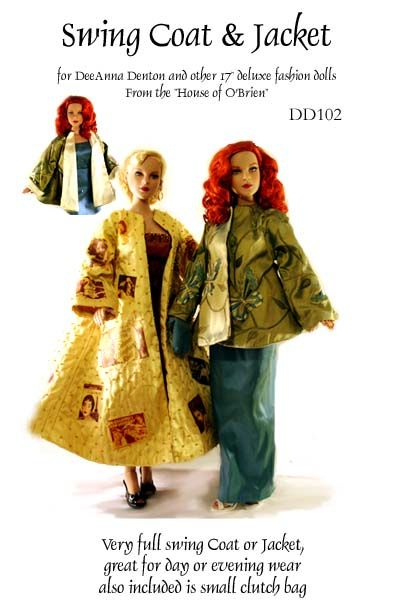 "pattern for Swing coat and jacket to fit 17"" fashion dolls"