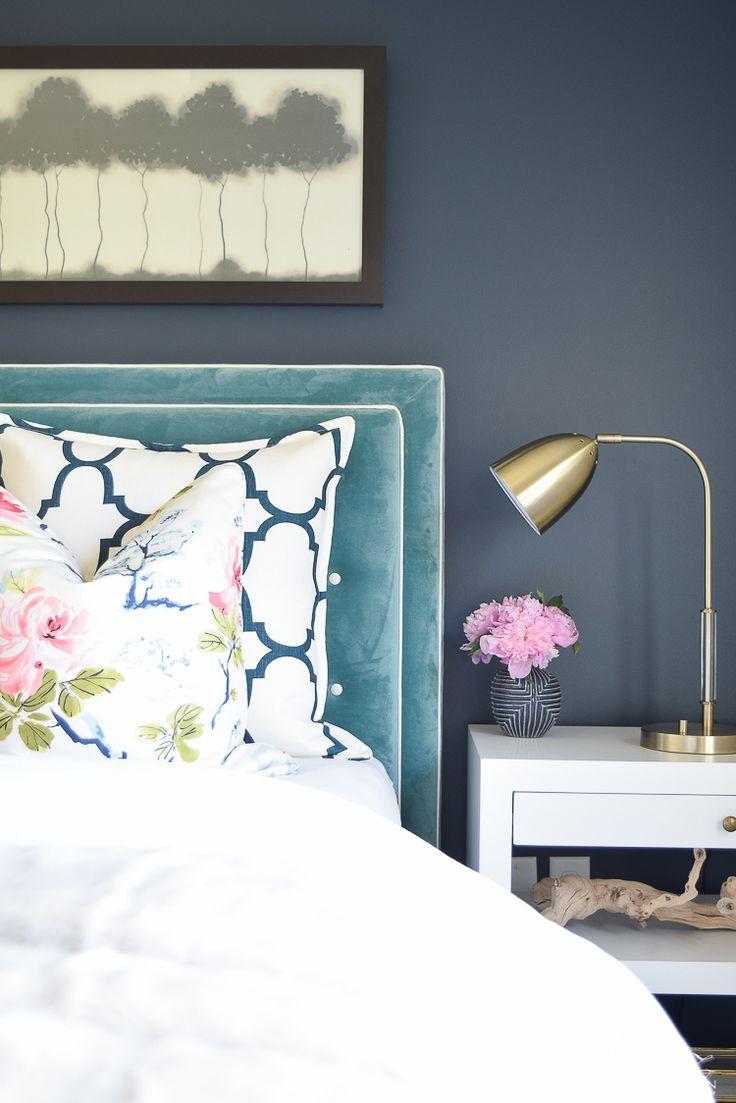 Design custom headbaord teal velvet headboard with white trim eastern charm floral pillow riad navy custom pillow blue geometric vase velvet headboards gentlemans gray navy paint-2