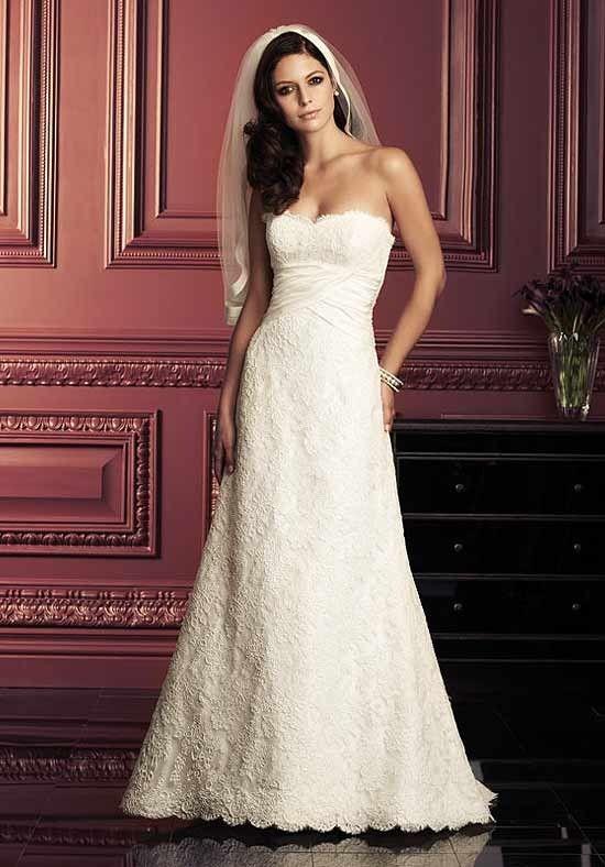 Fashion-Forward Strapless Empire Lace Satin Wedding Frocks