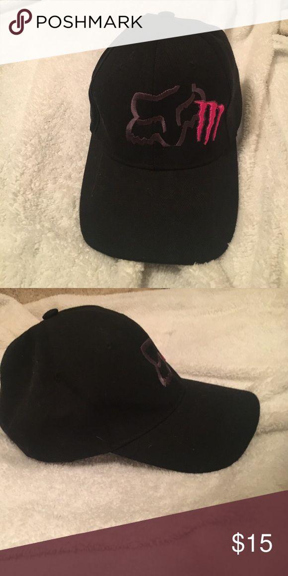 Fox/ monster curved bill cap Black baseball cap, with a grey fox logo and pink monster logo! Never worn!! Make an offer! Fox Accessories Hats