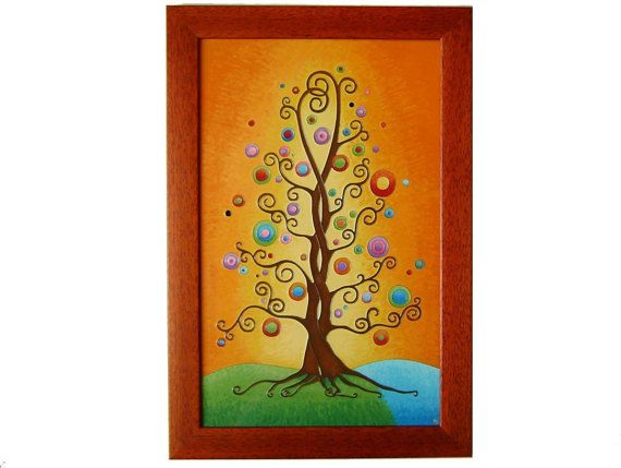 Tree of Life Wall Picture, Tree of Life Home Decor, Glass Paiting Picture, Wedding Gift
