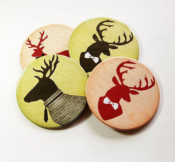 Drink Coasters, Deer Coasters, Coasters, Hostess Gift, Tableware, Barware, Rustic Decor, Hunting Lodge Decor, Gift for Hunter, Deer (5096) by KellysMagnets on Etsy