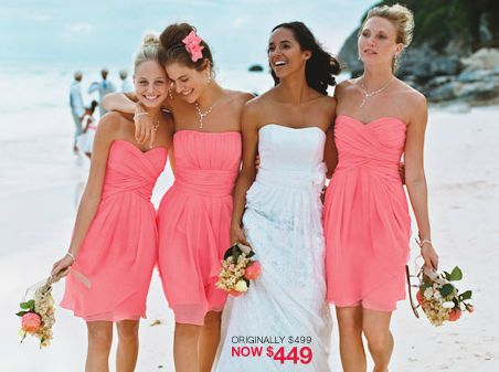 brides maids dresses but in blue or orange