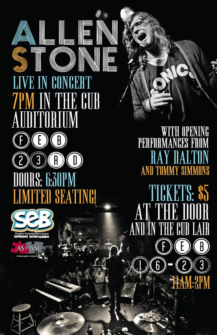 11x17 poster design - This Is An 11x17 Inch Poster To Promote The Allen Stone Concert Hosted By Seb Poster Designsconcert