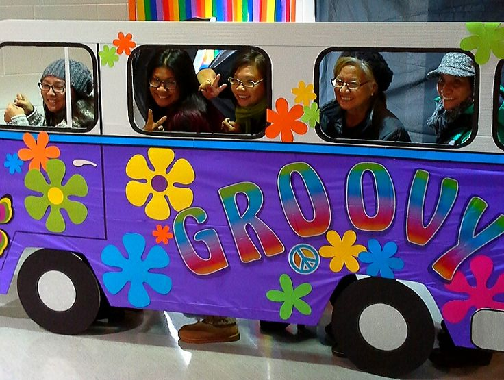 groovy hippie van prop for photos; design by Davis Floral Creations
