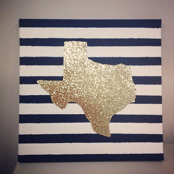 12x12 Gold glitter Custom State Canvas by GoldGlitterShop on Etsy, $20.00