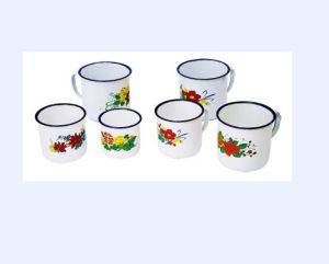 China Flower Decorate Enamel Water Mug - China Enamel Mug, Enamelware