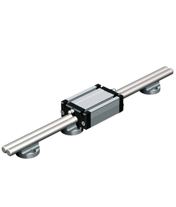 Linear guide rail LFS-12-1 W 40 x H 27 mm 2 precision steel shafts Ø 12 anti-twist aluminium shaft housing blocks