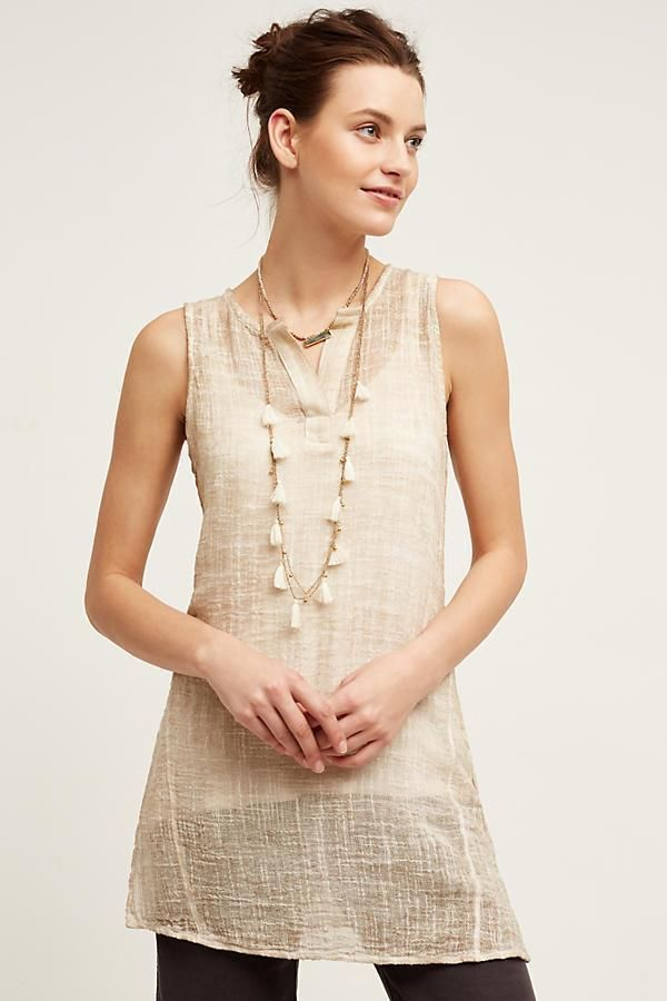 NEW ANTHROPOLOGIE Size L Large $118 Hadley Tunic Tina Jo Beige Womens Top NWT #Anthropologie #Tunic #Casual