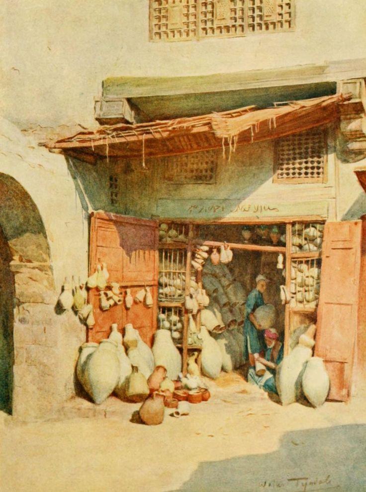 Tyndale, Walter (1855-1943) - An Artist in Egypt 1912, Pottery bazaar in a Nile village. #egypt