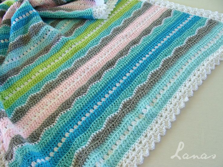Lanas de Ana: Baby Blanket: Sweet Ocean Breeze. Link to pattern for purchase