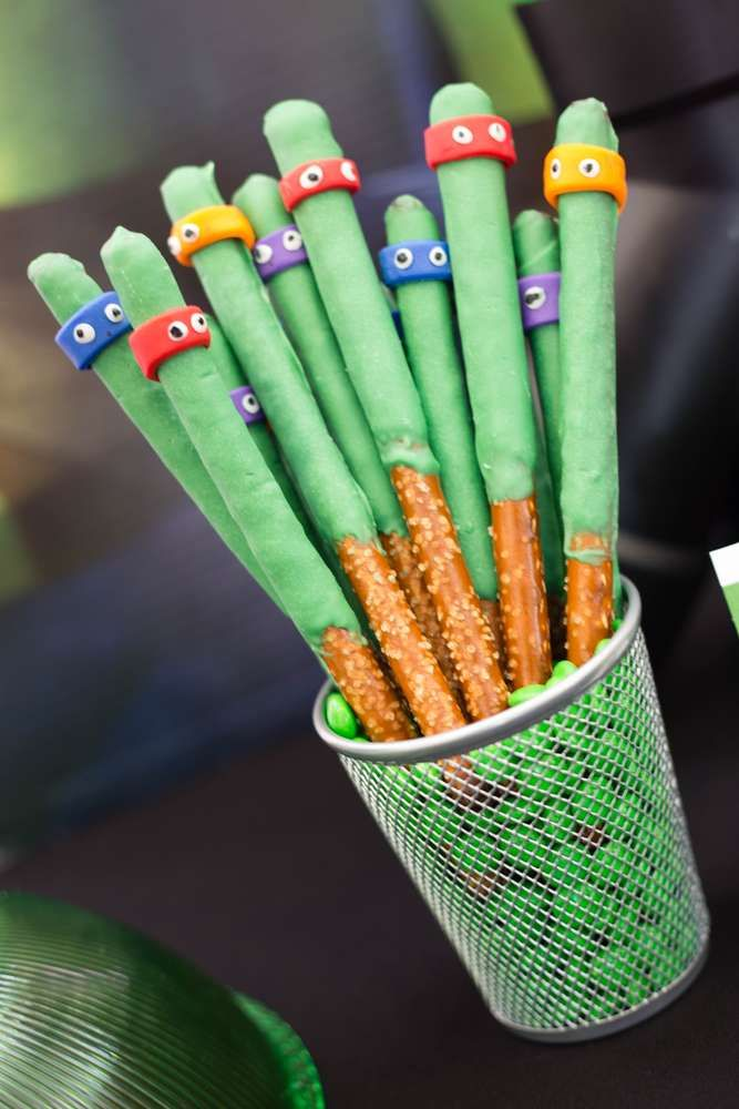 What cook chocolate dipped pretzels at this TMNT Party. Such a great idea!! See more party ideas and share yours at CatchMyParty.com