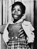 Ruby Nell Bridges at age six, was one of the first black students to go to an all white school. On her first day she was led into the building by U.S marshals who protected her from the angry mob of white men, women and children protesting outside.  Both children and adults held signs printed with abusive slogans and shouted racial slurs and profanities at this little girl for coming to their school. Sometimes bravery comes in the smallest packages, and gives new credence to the biblical qout...: Little Girls, All White, American History, Elementary School, Ruby Bridges, Ruby Nell, White School, Black History