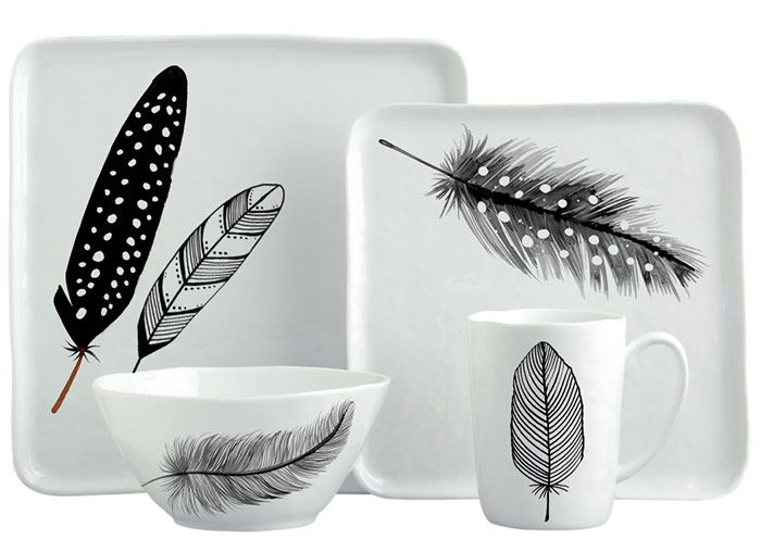 Margaret Berg Art: Black+&+White+Feathers+Dinnerware