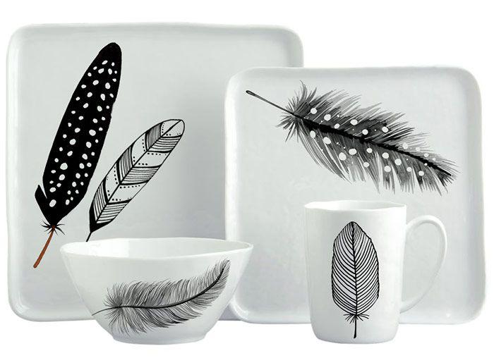 Margaret Berg Art: Black & White Feathers Dinnerware