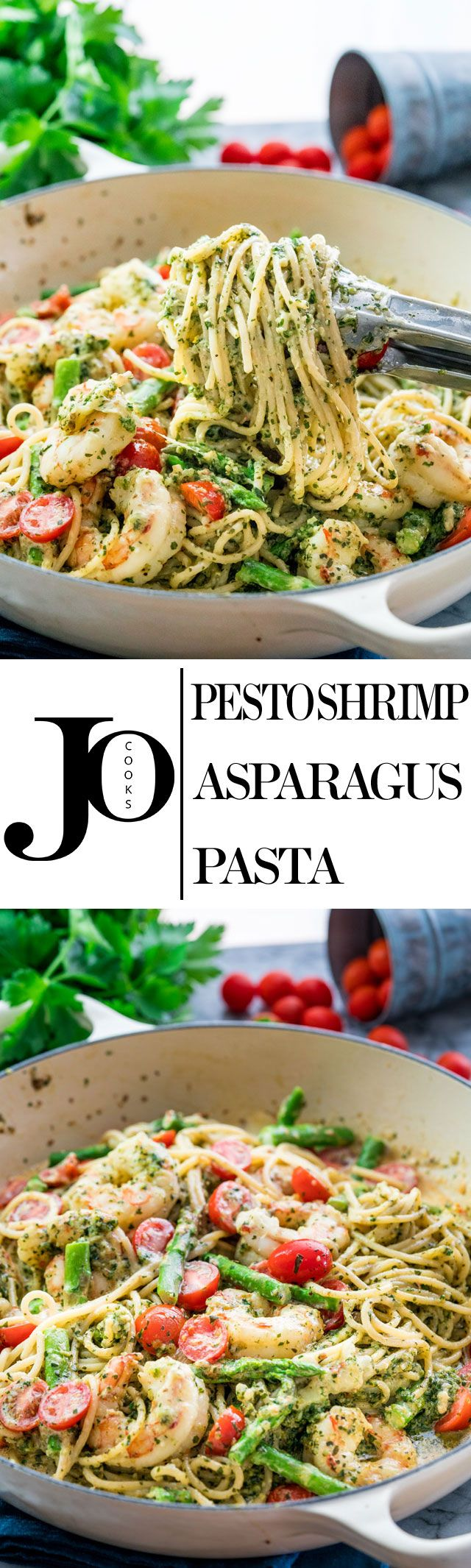 This Pesto Shrimp Asparagus Pasta can be on your dinner table in 30 minutes tops with your own fresh pesto made from scratch. Easy to make, delicious and packed with lots of flavor!