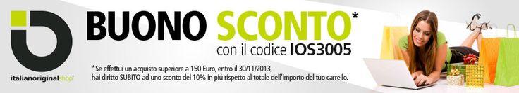 Codici Sconto per abbigliamento o calzature firmate, ordina online su italianoriginalshop.com  #sconto #sale #shopping #abbigliamento #offerte