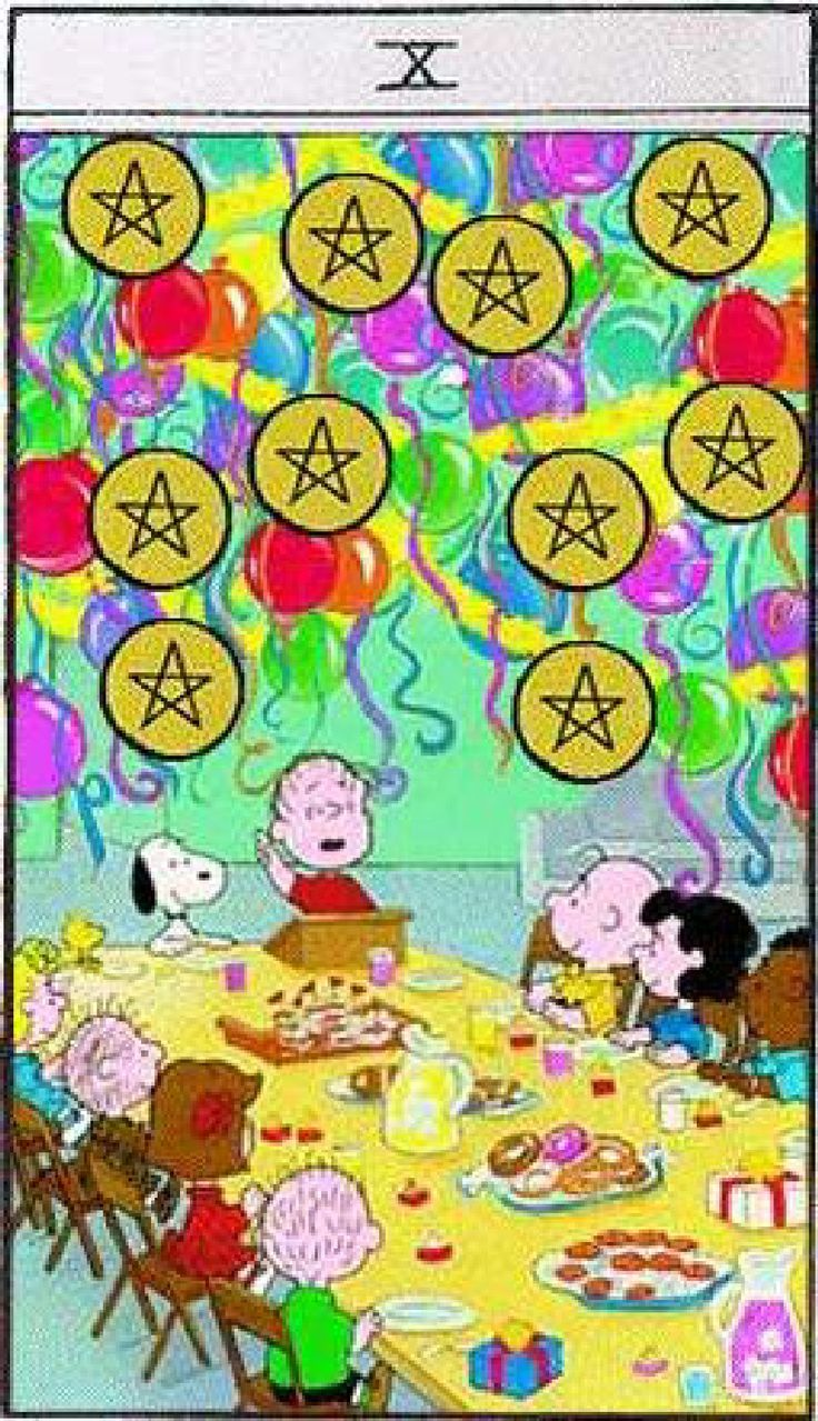Peanuts Tarot-You have reached the end of a cycle. You've learned all you care to learn, you've invested all you want, you're ready to move on to something new. Just as you received a gift to start off, why not share your abundance with someone else?