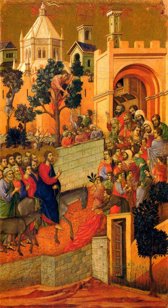 Duccio di Boninsegna - Ingresso di Gesù a Gerusalemme - Pannello della Maestà del Duomo di Siena. Siena, Museo dell'Opera del Duomo