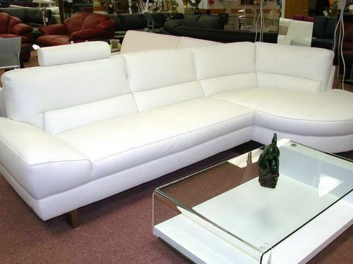White Sofa With Glass Table