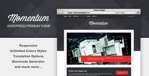 Momentum a powerful WP theme oriented for content presentation which makes it best suitable for company product, service presentation, personal or media agency.