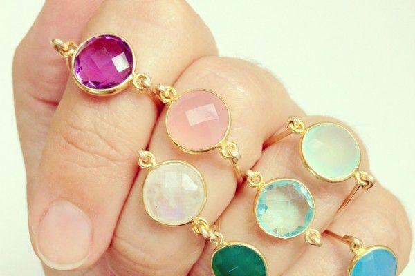 Golden gemstone rings from Luna Blau