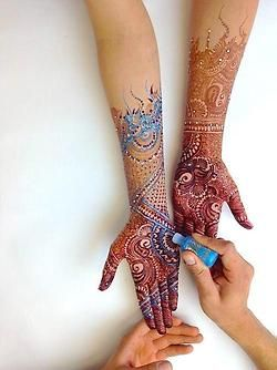 Multicolored Mehndi (Henna).