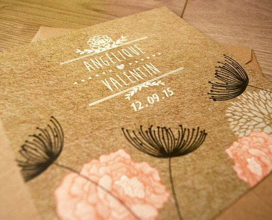 Pastilles et Petits Pois Création de faire-part sur-mesure mariage - Pastilles et Petits Pois- chic floral kraft