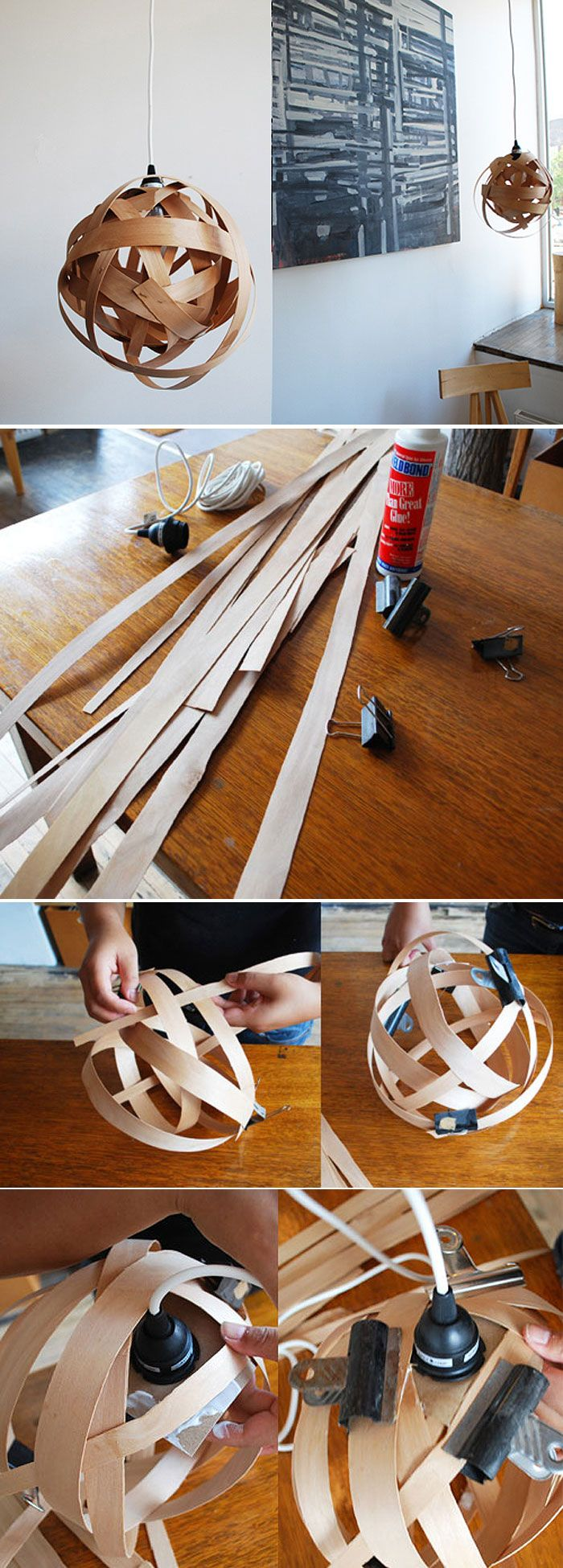 DIY - Make your own wood veneer pendant lighting using wood veneer strips, some glue, bull dog clips to hold them dry and an IKEA Hemma light/cord by Bookhou. #bestofdiy