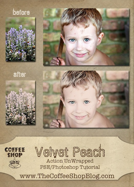 CoffeeShop Action UnWrapped Editing Tutorial to get the Velvet Peach effect.  This tutorial is for Photoshop and Photoshop Element users, but can be followed in Gimp!: Photoshop Elements, Coffeeshop Blog, Action Unwrap, Peaches Action, Velvet Peaches, Coffeeshop Velvet, Coffeeshop Action, Pse Action, Photoshop Action
