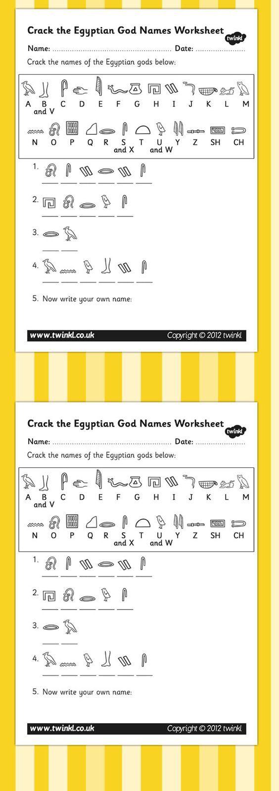 KS2 Ancient Egypt- Crack the Hieroglyphs Egyptian Gods Names Worksheets: