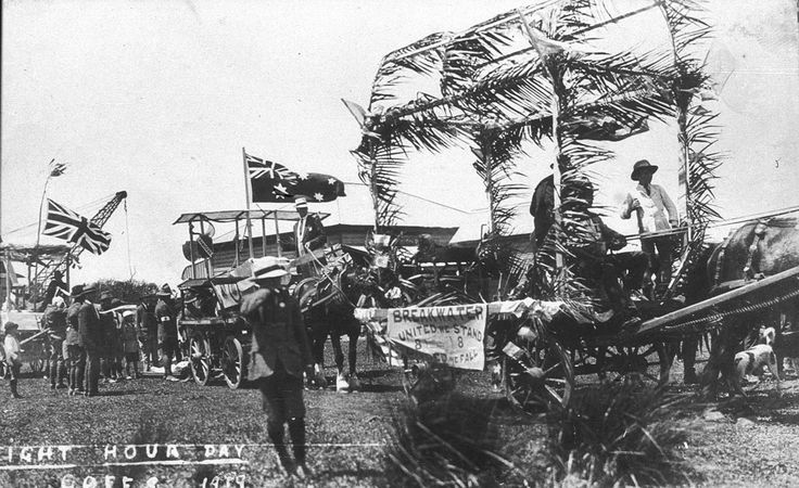 Eight Hour Day procession in Coffs Harbour NSW, 1919. At Work and Play collection, State Library of New South Wales: http://www.acmssearch.sl.nsw.gov.au/search/itemDetailPaged.cgi?itemID=389718