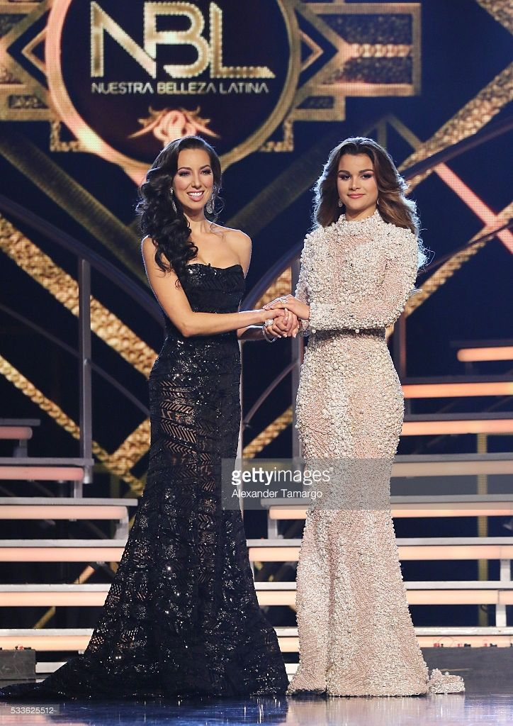 Setareh Khatibi and Clarissa Molina are seen on stage as Clarissa Molina is crowned the winner during the 'Nuestra Belleza Latina' Grand Finale at Univision Studios on May 22, 2016 in Miami, Florida.