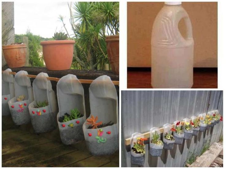 Recycle it plastic bottles as hanging planters gardens for Flower pot making with waste material