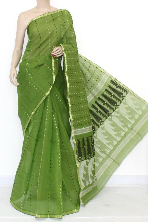 Menhdi Green Handwoven Thousand Booti Bengal Tant Cotton Saree (Without Blouse) 14030