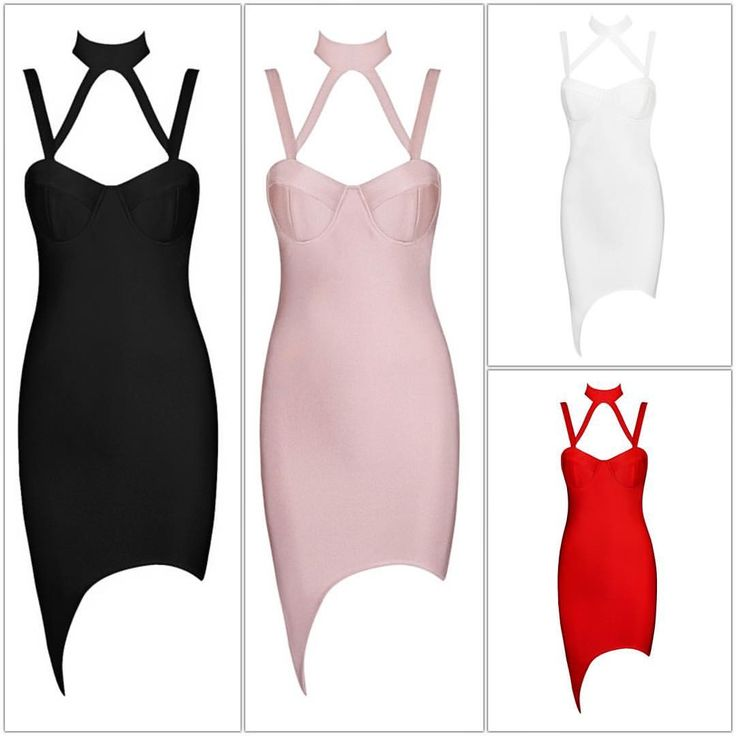 "Sexy, different.  The ""Leslie Collared Bandage Dress"" is like a new age siren.  Comes in black, light pink, red, or white."