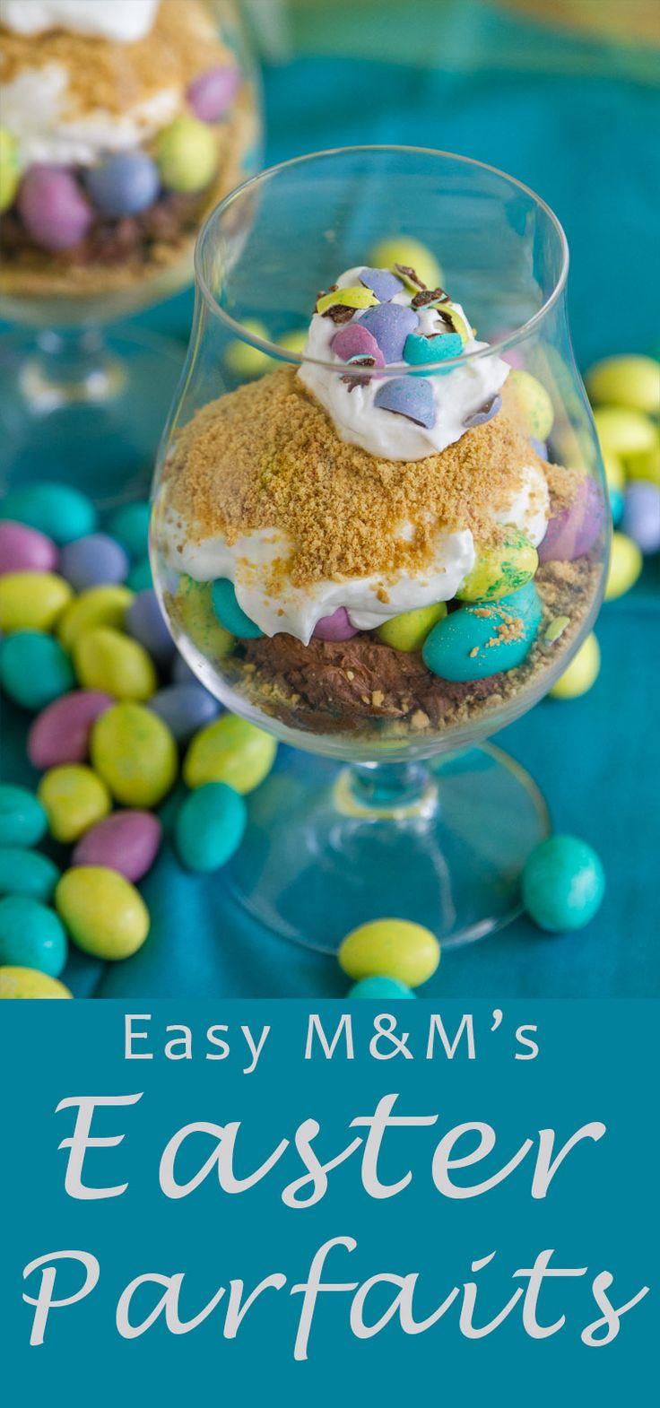 Easy M&Ms® Easter Individual Parfaits - fun & delicious! #sponsored #ad @mmschocolate, @DoveChocolateUS