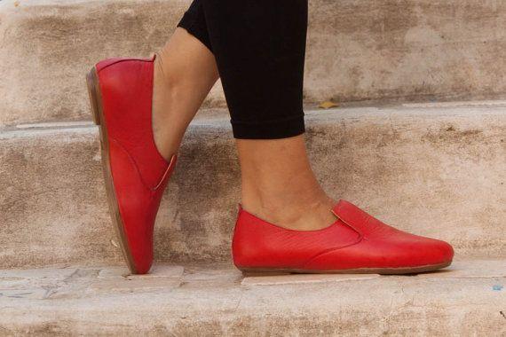 Anya leren Ballerina schoenen lederen flats platte door BangiShop