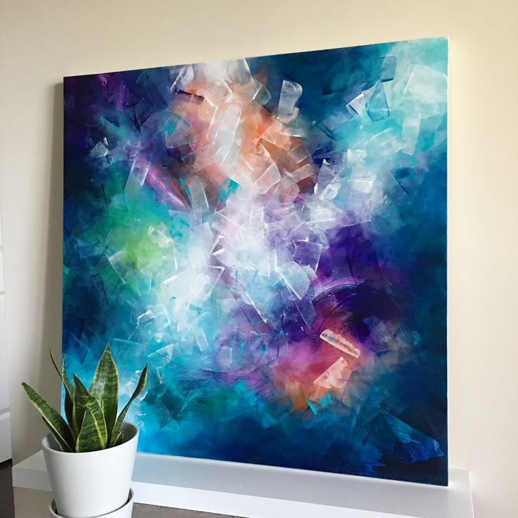 """Awakened"" 40×40″ acrylic on gallery canvas. [SOLD]  *****uplifting and vibrant contemporary artwork, modern interior st…"