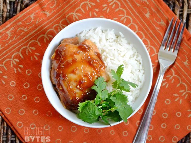 Honey Sriracha Chicken Thighs // from Budget Bytes, little over dollar per serving