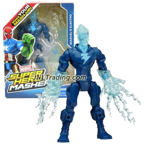 Hasbro Year 2014 Marvel Super Hero Mashers Series 6 Inch Tall Action Figure: MARVEL'S ELECTRO with Detachable Legs and Hands with Electrical Charge