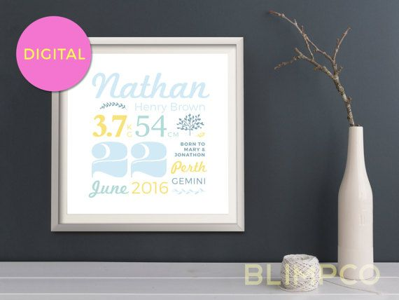 This birth print, featuring your babys personalized birth details, comes as a typographic digital print in a range of gender neutral colour schemes to suit your nursery decor. This birth stat print would make the perfect addition wall art for your nursery or a lovely custom baby gift for a friend.  SIZE: 210mmx210mm (other sizes available, please message)  TYPE: PRINTABLE, DIGITAL DOWNLOAD (pdf) COLOURS: Choose from 3 gender neutral colour schemes (please see our other listings linked below…