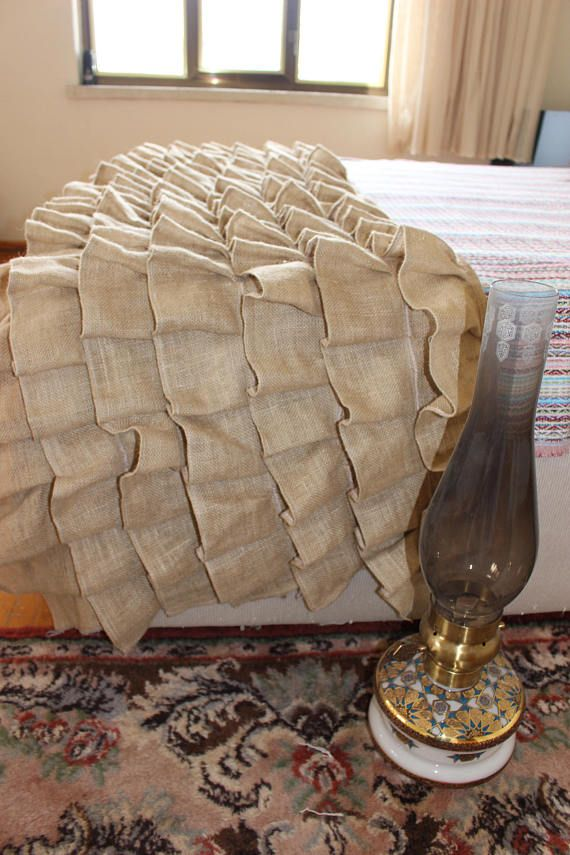Burlap Bed Scarf Burlap bedding Hey, I found this really awesome Etsy listing at https://www.etsy.com/listing/581867990/burlap-bed-runner-ruffled-bed-scarf