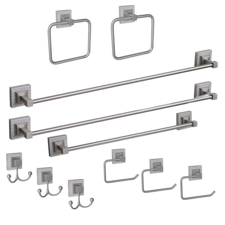 industrial bathroom hardware | ... HW3067 Greek Key Eleven Piece Bath Hardware Set - Knobs and Hardware
