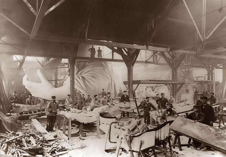 Statue of Liberty being assembled in 1882 at Frederic Bartholdi's workshop in Paris