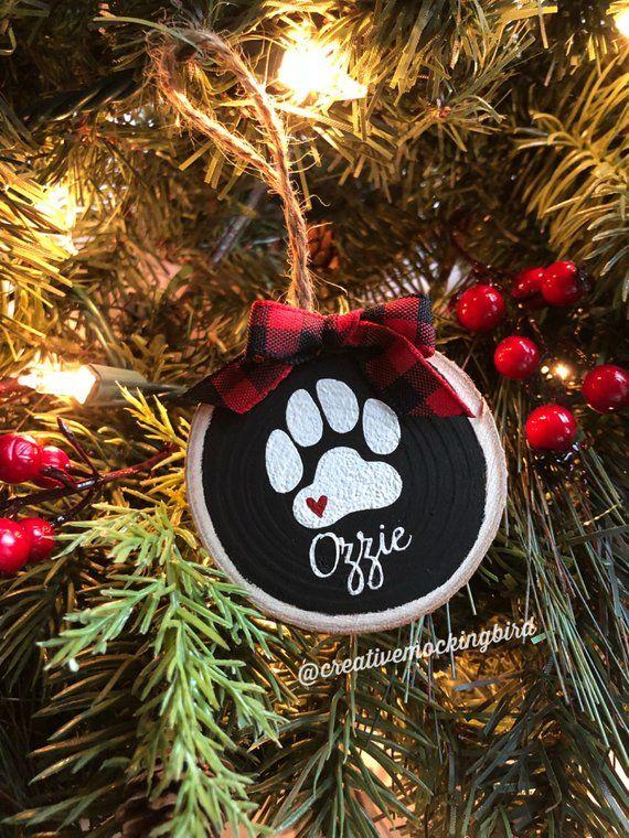 Paw Print Ornament Paw Print Pet Memorial Wood Slice