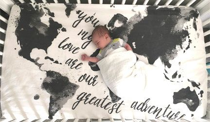 Map Crib Sheet, Mod, Modern // Aspen Lane EXCLUSIVE // Made to Order, Black & White, Gray, Grey Greatest Adventure, baby sheet
