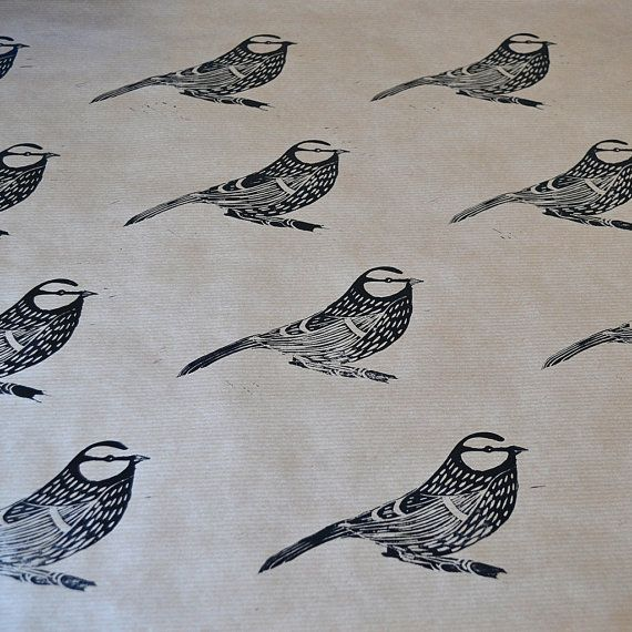Hand Printed Bird Gift Wrap - Blue Tit - One Sheet