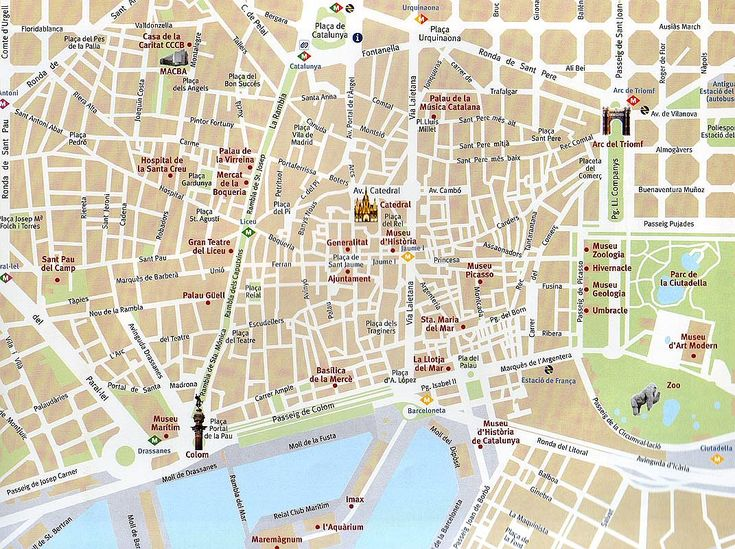 Mapa do centro de Barcelona